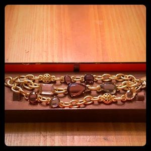 Coach Gemstone and Brushed Goldtone Bracelet